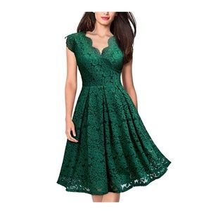 DarkGreen Floral Lace Long Sleeve V-Neck Dress
